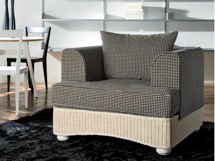 Upholstered woven wicker armchair LEDA   Armchair by Dolcefarniente
