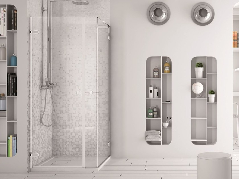 Corner glass shower cabin with hinged door SOFTGLASS PA2+FA2 by MEGIUS