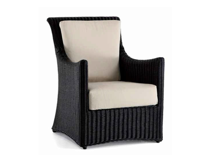 Woven wicker easy chair with armrests STEPHANY | Easy chair by Dolcefarniente