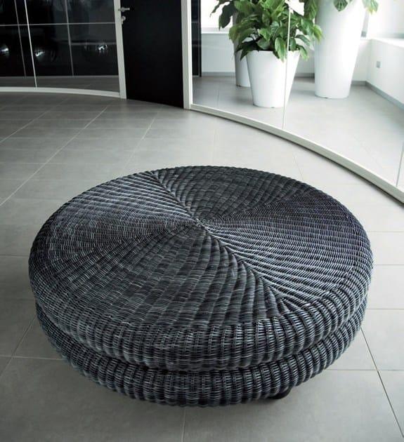 Rattan Pouf Coffee Table: Woven Wicker Pouf / Coffee Table MELANGE By Dolcefarniente