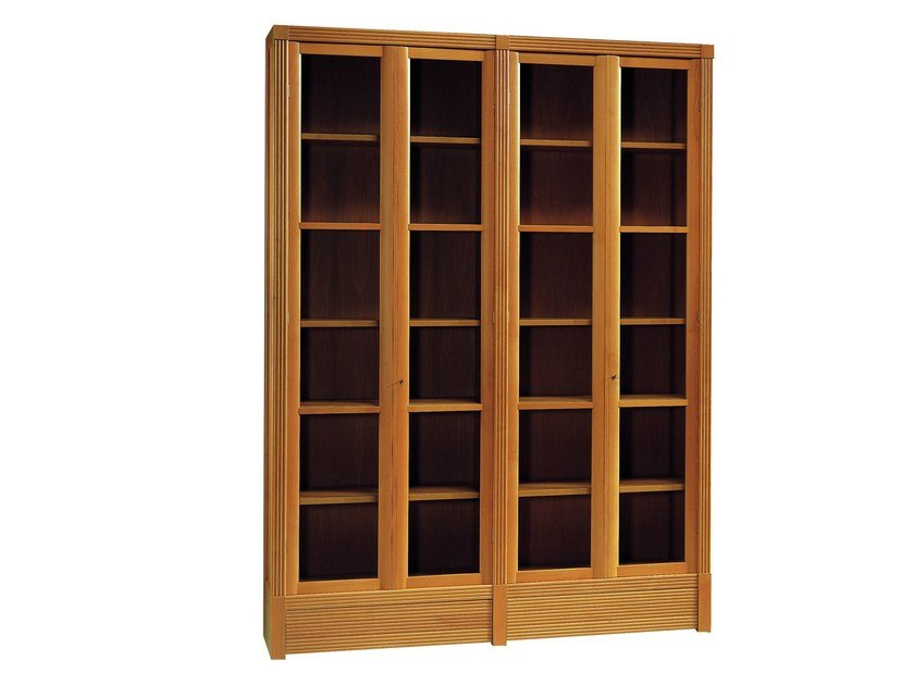 Freestanding wood and glass bookcase BIBLIOTECA | Freestanding bookcase by Morelato