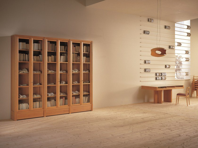 Wood and glass bookcase BIBLIOTECA | Bookcase by Morelato