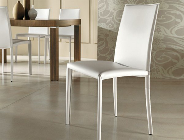 Tanned leather restaurant chair SARA | Tanned leather chair by RIFLESSI
