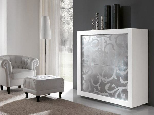 Highboard with doors PICASSO P2 SILVER LEAF by RIFLESSI