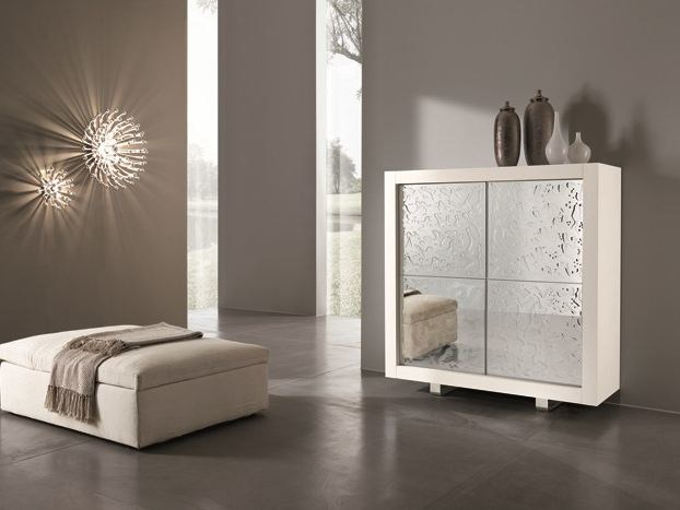 Mirrored glass highboard with doors PICASSO P12 | Mirrored glass highboard by RIFLESSI