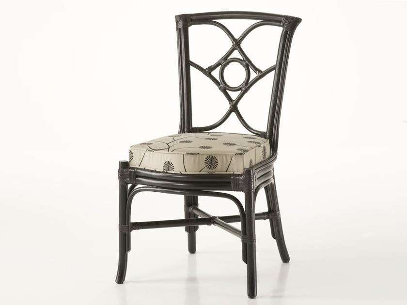 Upholstered rattan chair ORTENSIA | Chair by Dolcefarniente
