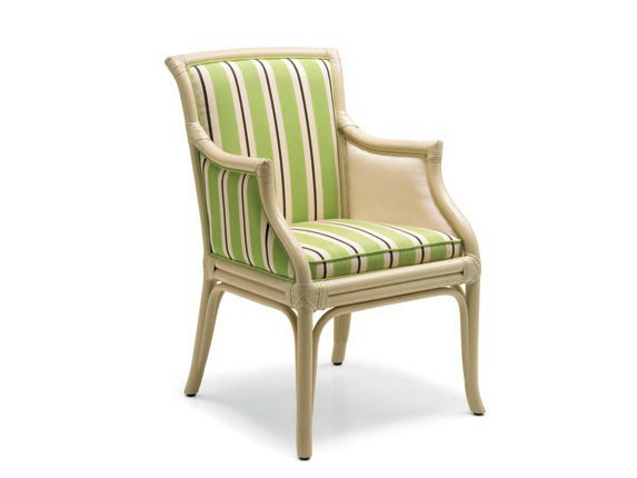 Upholstered rattan chair with armrests CLARISSA by Dolcefarniente