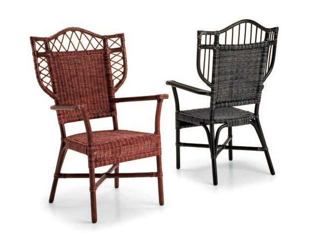 Woven wicker chair with armrests ELEONORA by Dolcefarniente