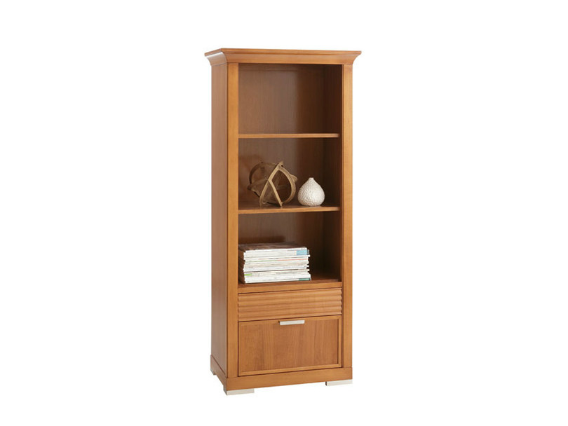 Wall-mounted wooden bookcase with drawers LUNA | Bookcase by SELVA