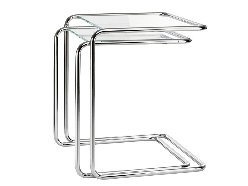Stackable glass and steel side table B 97 | Glass and steel coffee table by Thonet