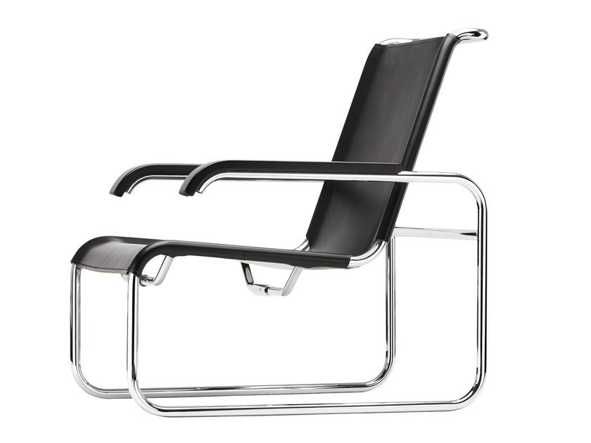 Sled base leather armchair S35 | Sled base armchair by THONET