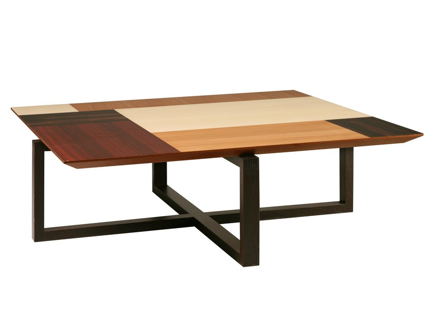 Low rectangular wenge coffee table PATCHWORK | Rectangular coffee table by Morelato