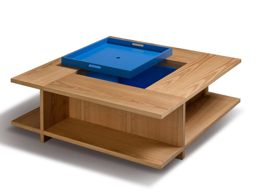 Low square cherry wood coffee table with integrated magazine rack BOOK by Morelato