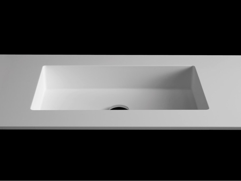 Rectangular washbasin with integrated countertop PLANO WB1 by RIFRA