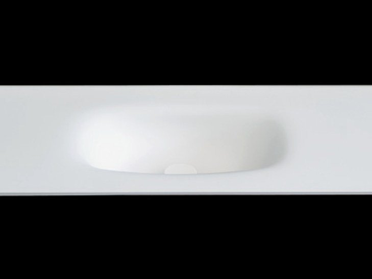 Oval washbasin with integrated countertop PLANO WB2 by RIFRA