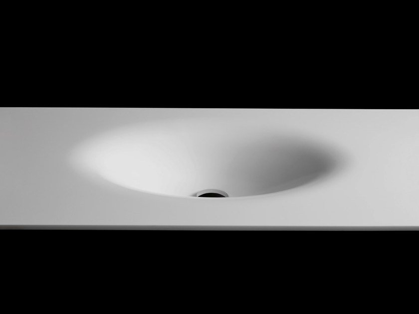 Oval washbasin with integrated countertop PLANO WB3 by RIFRA