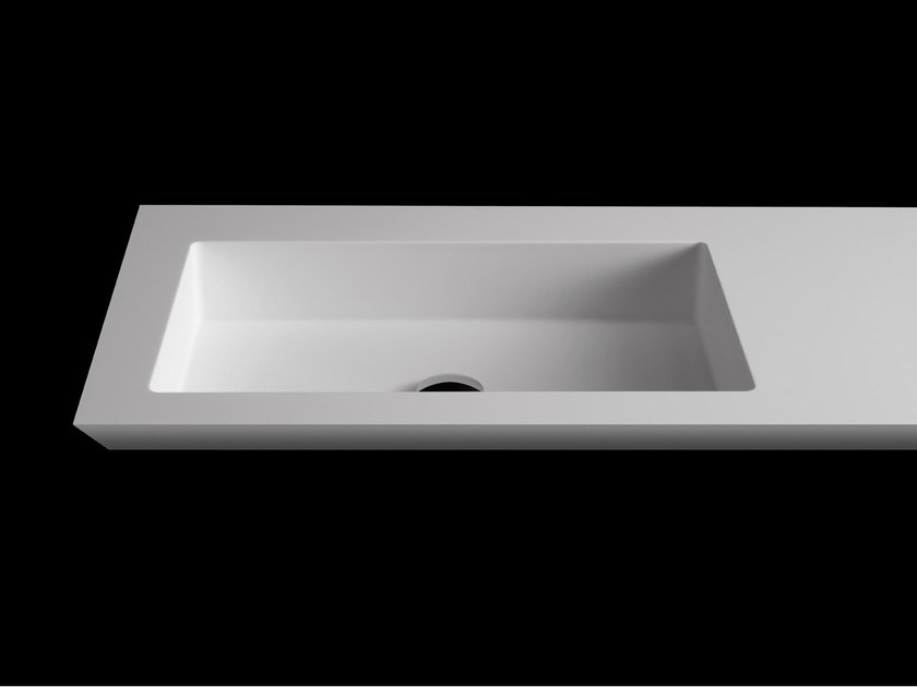 Rectangular washbasin with integrated countertop PLANO WB4 by RIFRA