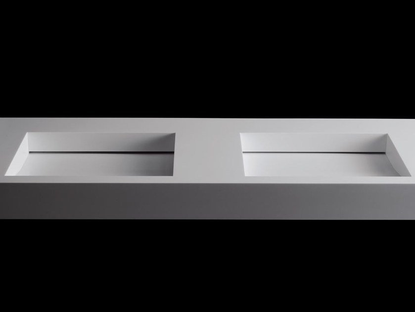 Double washbasin with integrated countertop TICKLESS by RIFRA