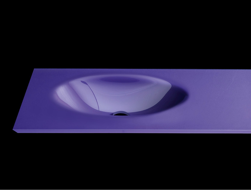 Oval washbasin with integrated countertop PLANO WB6 by RIFRA