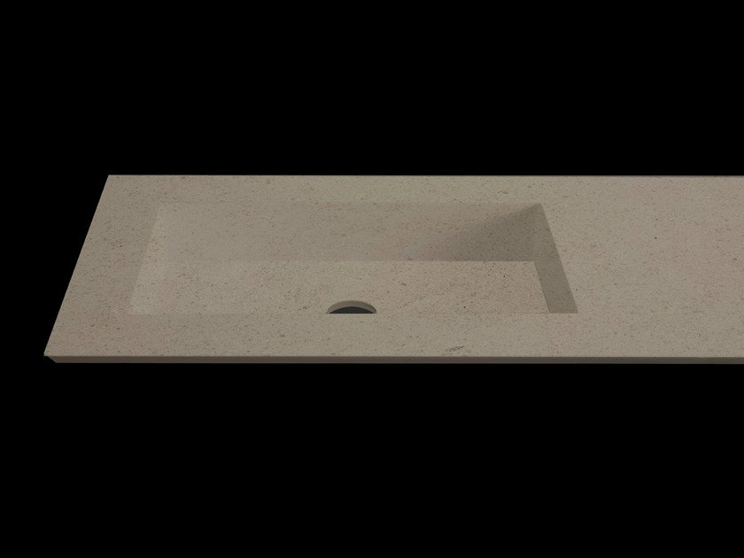 Rectangular washbasin with integrated countertop PLANO WB7 by RIFRA