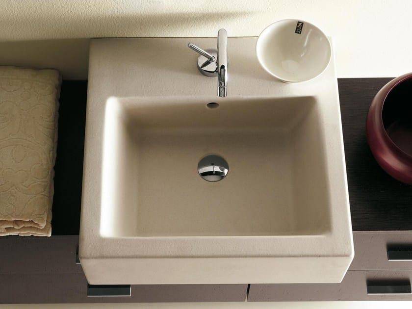 Countertop square travertine washbasin COMPOS | Square washbasin by LASA IDEA