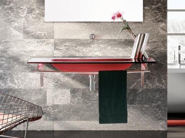 Rectangular washbasin with integrated countertop with towel rail TIFFANY 740 by LASA IDEA