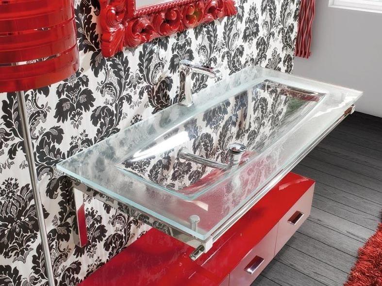 Rectangular single washbasin with towel rail TIFFANY 790 by LASA IDEA