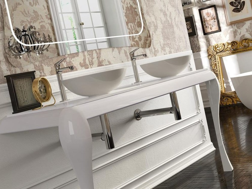 Double lacquered console sink AIR 01 by LASA IDEA