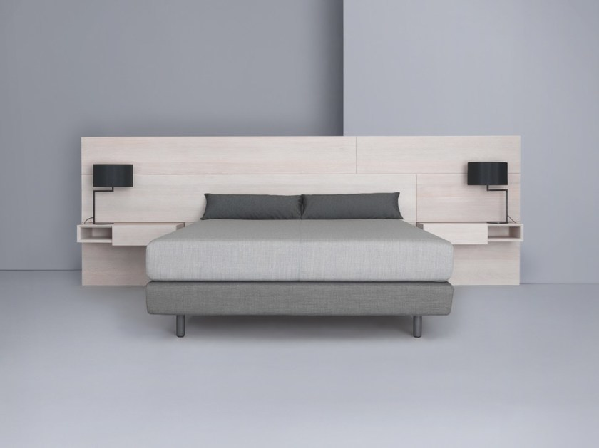 Wooden headboard with integrated nightstands MIUT PANEL by ZEITRAUM