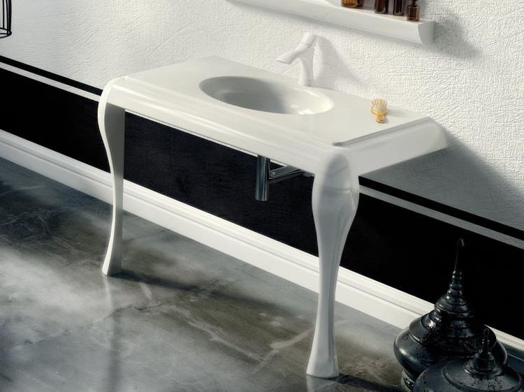 Lacquered single console sink AIR 04 by LASA IDEA