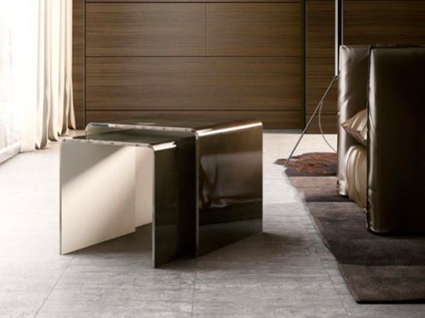Square crystal coffee table BIS by RIFLESSI