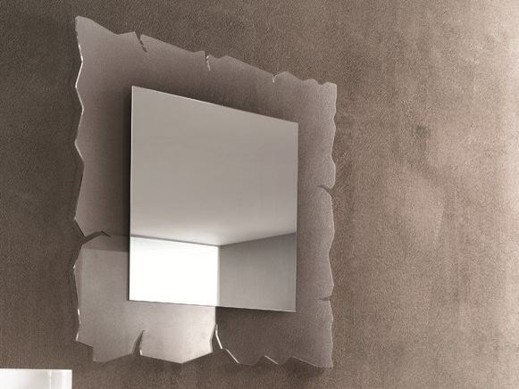Square wall-mounted mirror VISION by RIFLESSI