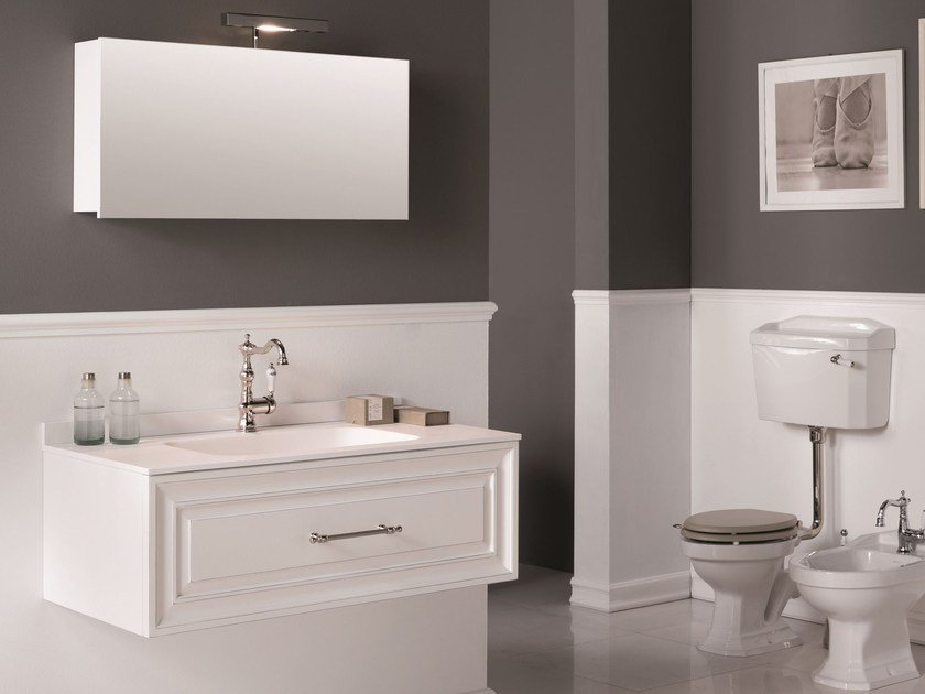Wall-mounted vanity unit with mirror CHARME 2 by BLEU PROVENCE