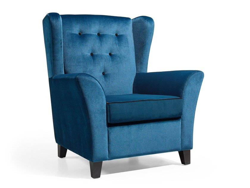 Fabric armchair with armrests Wing by Fenabel