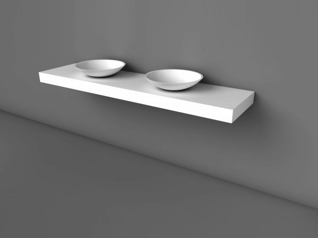Double Solid Surface® washbasin countertop COCOON FREE by COCOON