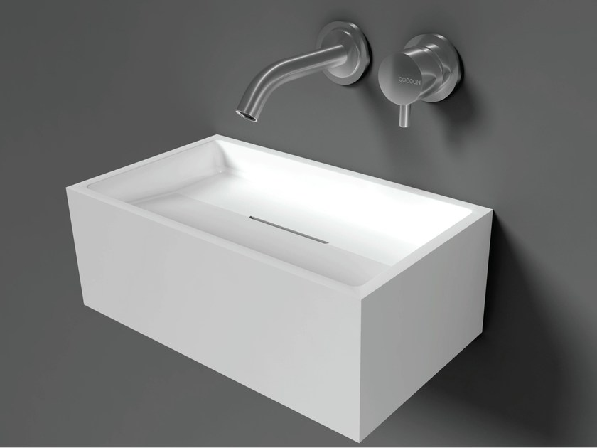 Rectangular wall-mounted Solid Surface handrinse basin COCOON SANT JORDI I by COCOON