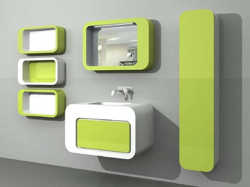 Wall-mounted vanity unit with cabinets with drawers UnopuntoZero COMP 3 by LASA IDEA