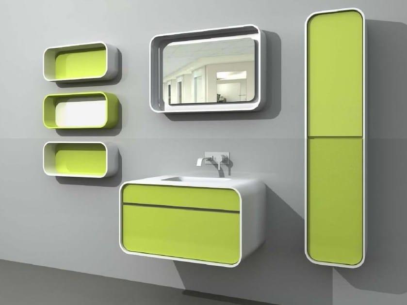 Single vanity unit with cabinets with mirror DuepuntoZero COMP 1 by LASA IDEA
