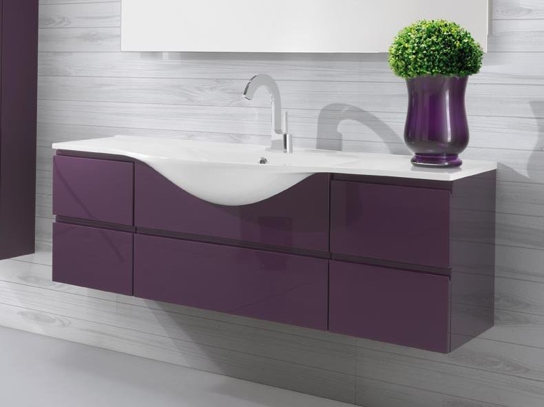 Lacquered single vanity unit with drawers VANITY 01 by LASA IDEA