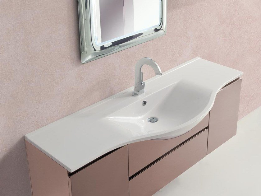 Lacquered single vanity unit with drawers VANITY 03 by LASA IDEA