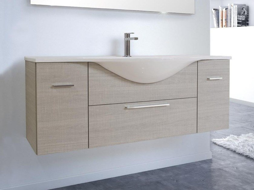 Single wall-mounted vanity unit with drawers VANITY 06 by LASA IDEA