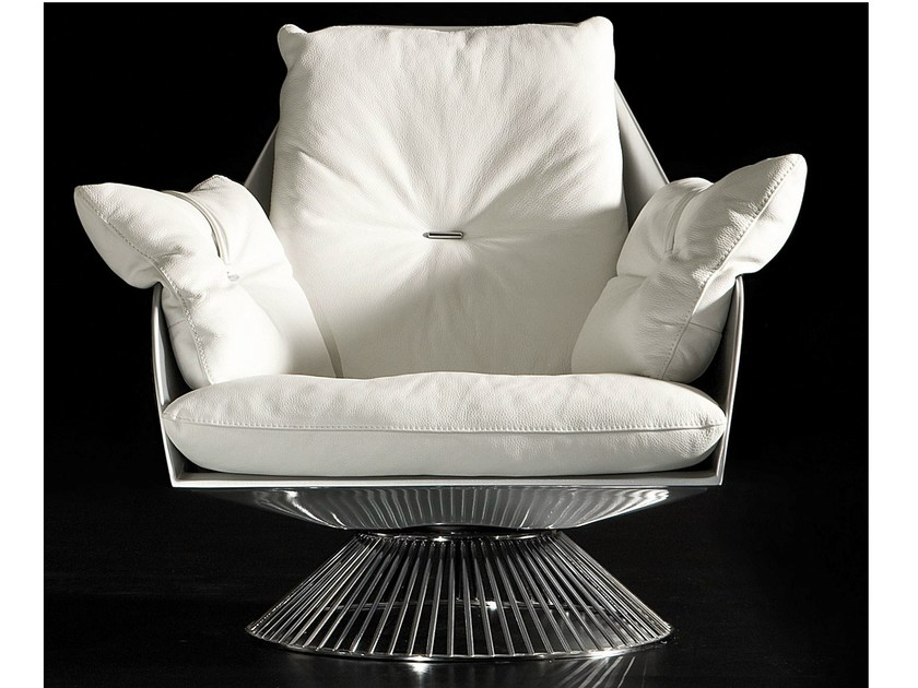 Design high-back swivel leather armchair GLOSS by Italy Dream Design
