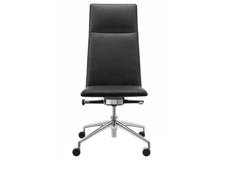 Swivel leather executive chair with 4-spoke base with casters FINA | Executive chair with casters by Brunner