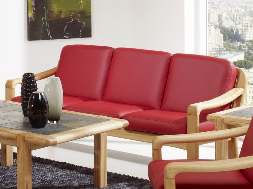 3 seater wooden sofa 1240A   3 seater sofa by Dyrlund