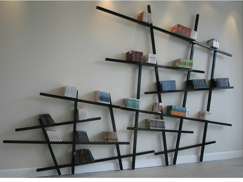 Open wall-mounted lacquered bookcase MIKADO by Compagnie