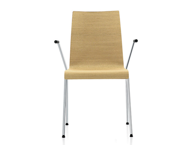Stackable wood veneer chair PRIME | Chair with armrests by Brunner