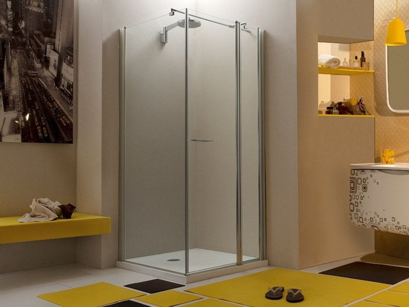 Corner glass shower cabin with hinged door WEB 1.1 A 1/2+F by MEGIUS