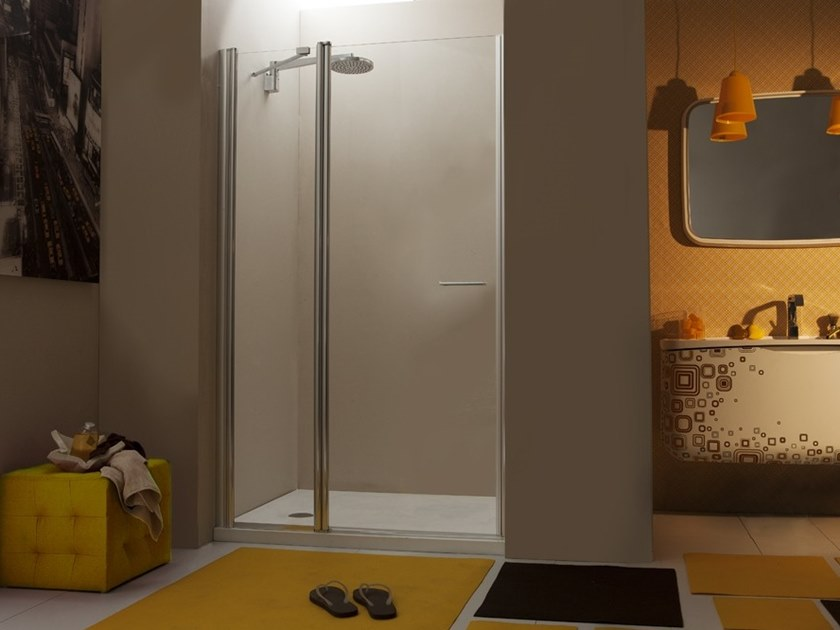 Niche glass shower cabin with hinged door WEB 1.1 PB by MEGIUS
