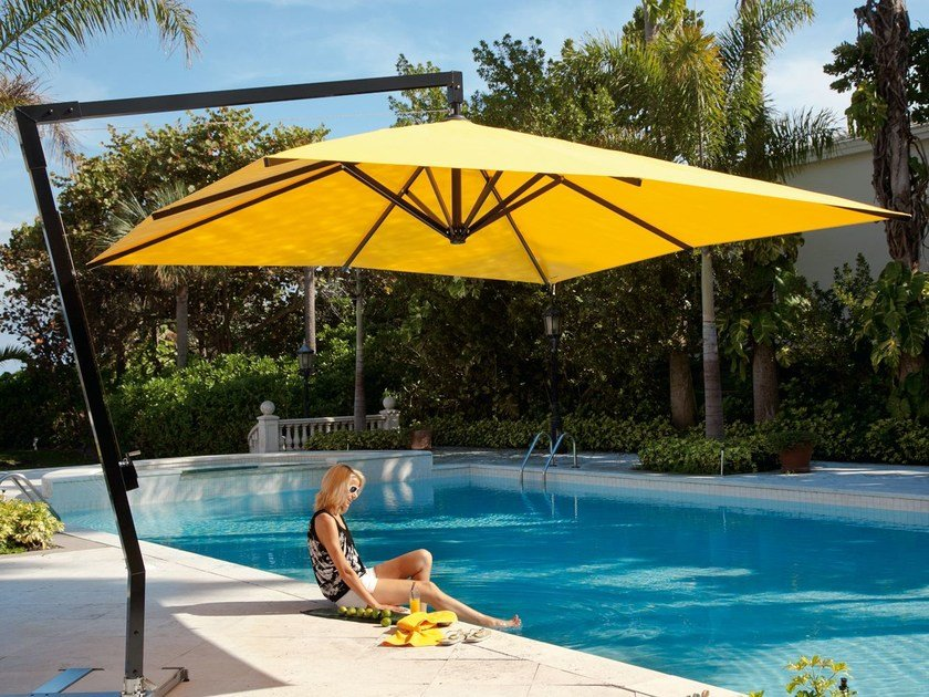 Adjustable offset rectangular acrylic Garden umbrella AMALFI | Square Garden umbrella by Caravita