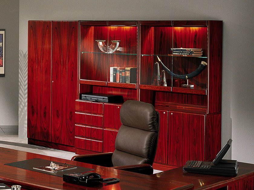Tall cherry wood office storage unit COMMODORE | Cherry wood office storage unit by Dyrlund